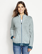 Two color options in one: Our Reversible Full-Zip Sweatshirt is an obliging layering piece.