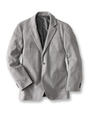 This handsome sport coat boasts the comfort of flannel in a polished merino wool blend.