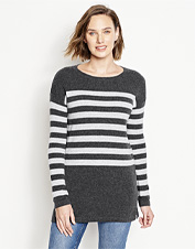 Pull on our Striped Cashmere Sweater Tunic for incredibly versatile style, with less effort.