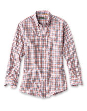 Vibrant variegated yarns bring rich depth of color to the distinctive plaid Chamarel shirt.