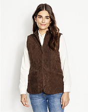 Diamond-quilted suede lends appealing texture to this versatile wool-blend-lined vest.