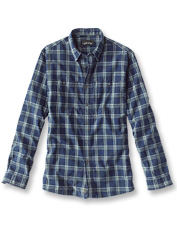 Stroll through warmer days in the cool comfort of our lightweight Indigo Tech Plaid Shirt.