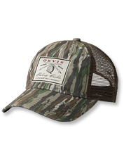 Our camo trucker cap with a vintage-inspired logo patch is perfect for days on the water.