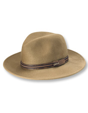This packable wool trilby hat retains its shape, even after rough use and repeated crushing.