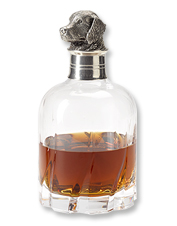 Topped with a pewter Labrador, this crystal decanter is an attractive vessel for your whiskey.