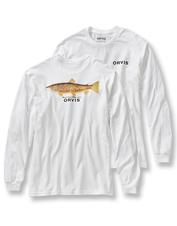 Proudly display your love of water dwellers with this brown trout print long-sleeved T-shirt.