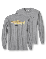 This long-sleeved T-shirt highlights a favorite catch with a Karen Talbot brown trout print.