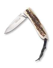 This handsome, impeccably crafted Opera folding knife by LionSteel features a stag horn handle.