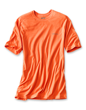 This crew neck T-shirt features contrast stitching for style and drirelease fabric for comfort.