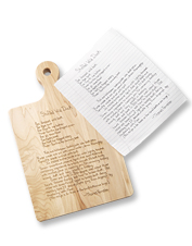 Invite reminiscence of favorite meals with this personalized family recipe cutting board.
