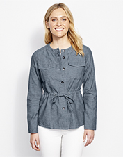 Our Chambray Utility Jacket adapts to changing seasons—layer it or convert the roll-tab sleeves.