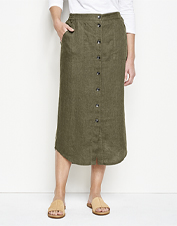 The Orvis Performance Linen Button-Front Skirt easily handles the humidity of sultry days.