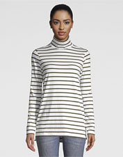 Our Striped Perfect Turtleneck Tunic is a casual option that won't stretch with regular wear.