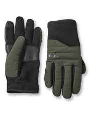 This glove is a cold-shunning hybrid of knit and nylon, lined with fleece for extra warmth.