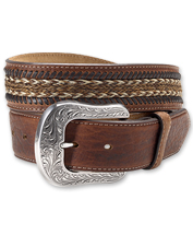 The inlay on this handsome Western-inspired bison leather belt is hand-braided of horsehair.