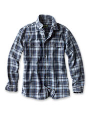 Genuine indigo adds a distinctive range of washed blue hues to these plaid long-sleeved shirts.