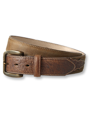 Rich bison leather adds contrast to this rugged belt that assumes a Western-style appearance.