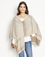 Cozy up in the breathable comfort and warmth of our generously sized Natural Cashmere Wrap.
