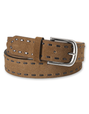 The edges of this suede belt are leather-laced, adding refined detail to a handsome accessory.