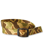The Orvis Camo Belt by Croakies keeps pants in place and removes plastic waste from the stream.