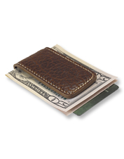 Keep a grip on your bills with this handsome bison leather money clip with magnetic closure.