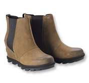 The Joan Arctic Wedge Chelsea Boots by Sorel offer plenty of traction for slick terrain.