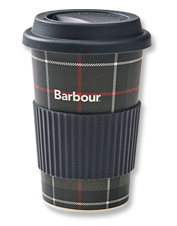 Make your morning cuppa eco-friendly with this biodegradable Tartan Travel Mug by Barbour.
