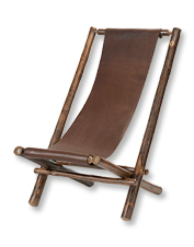 Our rustic Hickory and Leather Sling Chair is comfortable and handcrafted to last.