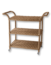 Keep the spirits flowing wherever friends congregate with this rolling wicker bar stand.