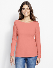 Casual, go-everywhere comfort is as easy as pulling on this Classic Cotton Solid Boatneck Tee.