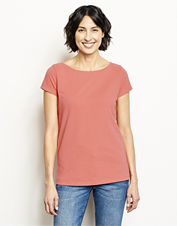 This boatneck tee earns an incredible hand from brushed-soft cotton and a touch of spandex.