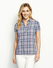 Washed indigo gives this plaid Henley-style popover shirt a broken-in look and feel.
