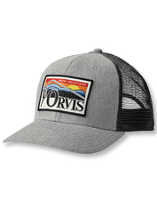 This trucker hat displays a favorite logo: A bend in the rod and the Smoky Mountains in view.