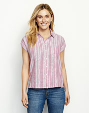 Our attractive Dolman Camp Shirt features a linen blend for breathable, comfortable style.