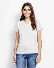 Top a cami with this semi-sheer popover-style textured dobby stripe shirt for a casual option.