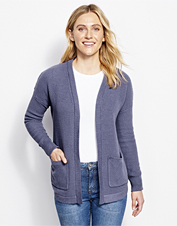 A textured stitch and open-front styling make this cardigan a stylish layer for casual days.