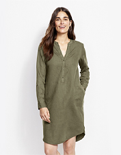 This adaptable, easy-wearing dress earns breathable comfort from a blend of linen and cotton.
