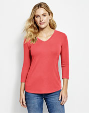 We're not sure which we love more: Our Perfect Tee's relaxed fit or flattering V-neck styling.