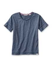 Enjoy the casual style of this boyfriend tee in a soft cotton/polyester slub knit.