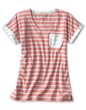 This amazingly soft dolman-style tee features a flattering boatneck and mixed stripe pattern.