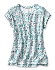 Top our exceptionally soft Printed Dolman Tee with a cardigan or let it stand alone.