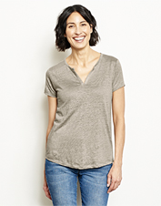 Get summer-ready style and cool breathability with this Lakeside Linen Split-Neck Tee.