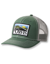 A favorite view—an angler beside rolling peaks—is depicted on our Green Mountain Trucker cap.