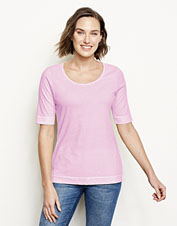 This scoopneck elbow-sleeved tee features an ultrasoft hand—and a soft, sunwashed hue to match.