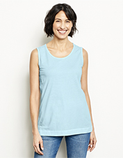 Our Sunwashed Scoopneck Tank features a left-in-the-sun faded hue for easy, laid-back style.