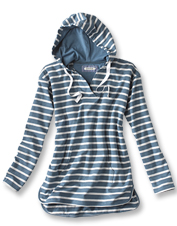 Get comfortable in relaxed style wearing our French terry Heathered Striped Tunic Hoodie.