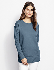 Cozy style is the name of the game in our colorful Heathered French Terry Tunic.