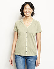 Our Moonlight Pines Button-Front Tee makes a perfect option to elevate a casual outfit.