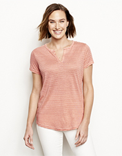 The Lakeside Linen Split-Neck Striped Tee combines breathability, comfort, and a relaxed fit.