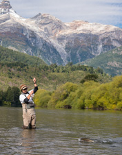 Fly fish for trout on the Yelcho River in Chile.